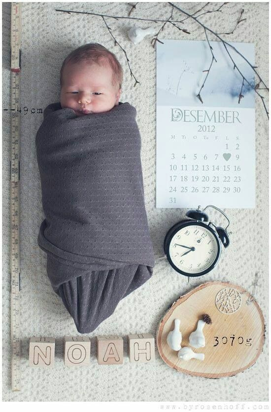 Cute baby picture with all of the information you need!
