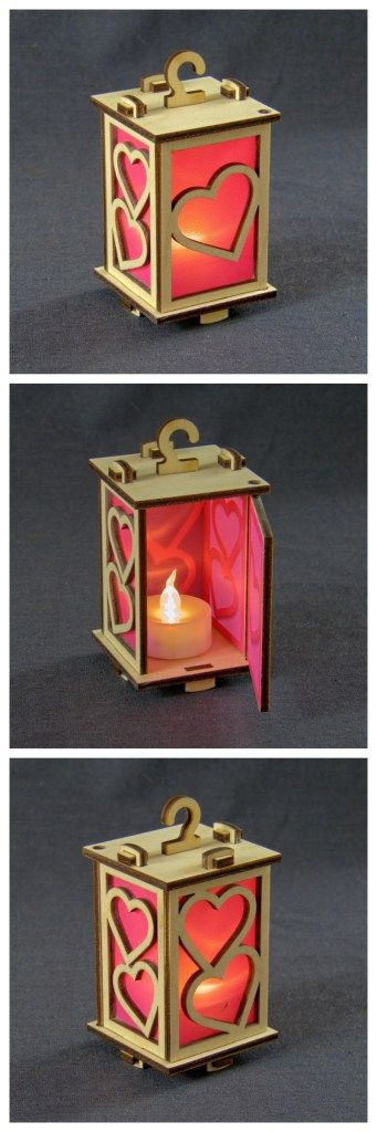 "Tiny lantern ""Hearts"", laser cut birch ply with LED tea light."
