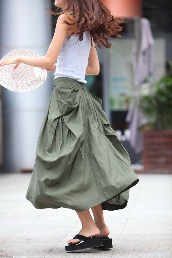 Lagenlook Maxi Skirt Big Pockets Big Sweep Long Skirt in Army Green Summer Linen…