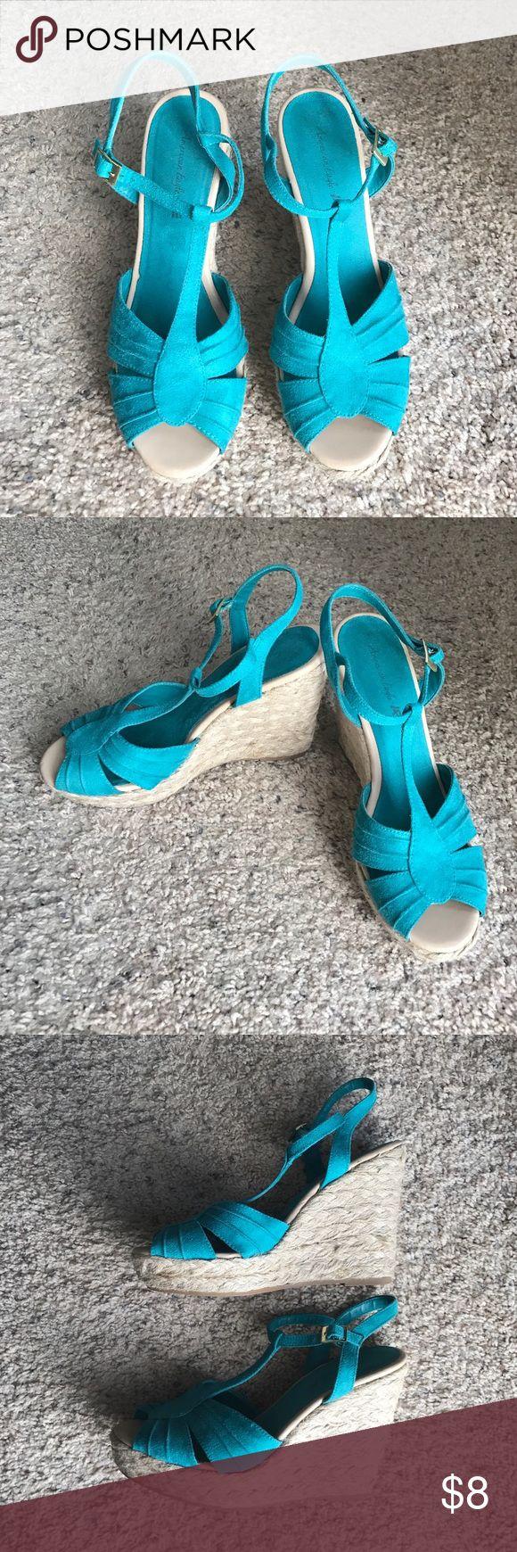 Teal Wedges by American Eagle Teal Wedges by American Eagle.  Size 10. American Eagle Outfitters Shoes Wedges