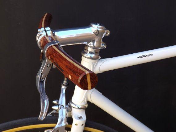 bubinga and ash wood curved bicycle handlebar by WoodOOcycles