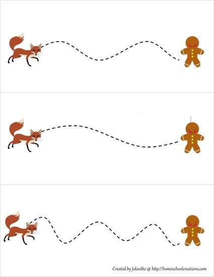 fox and gingerbread man themed scissor cutting practice worksheet