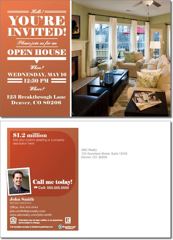 #realestate Open House Invitation Postcard