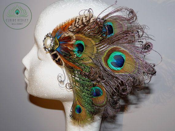 Gatsby 1920s inspired peacock head piece fascinator hair