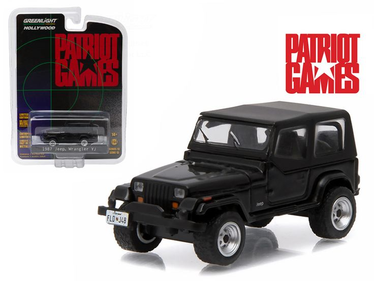 "1987 Jeep Wrangler YJ Black ""Patriot Games"" Movie (1992 ) 1/64 Diecast Model Car by Greenlight - Brand new 1:64 scale car model of 1987 Jeep Wrangler YJ Black ""Patriot Games"" (1992 ) Movie die cast model car by Greenlight. Limited Edition. Has Rubber Tires. Comes in a blister pack. Metal Body and Chassis. Detailed Interior, Exterior. Officially Licensed Product. Dimensions Approximately L-2 Inches Long.-Weight: 1. Height: 5. Width: 9. Box Weight: 1. Box Width: 9. Box Height: 5. Box Depth: 5"