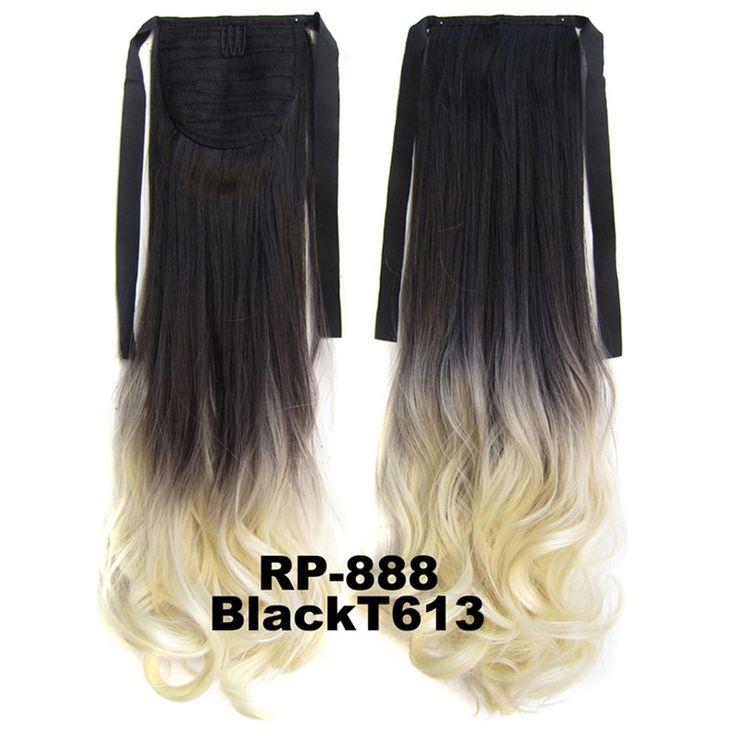 Hittebestendigheid Synthetische Haarstukjes Ombre Lint Paardenstaart Clip in op golvend Haarverlenging 55 cm, 80g, 12 kleuren beschikbaar, 1 st