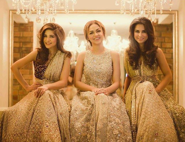 How gorgeous does #AyeshaOmer, #Duréh and #MairaKhamisani look in #TenaDurrani #bridas for a hello! Mag feature@tenadurrani