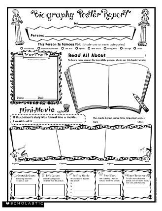 Biography Poster Report free printable from Scholastic