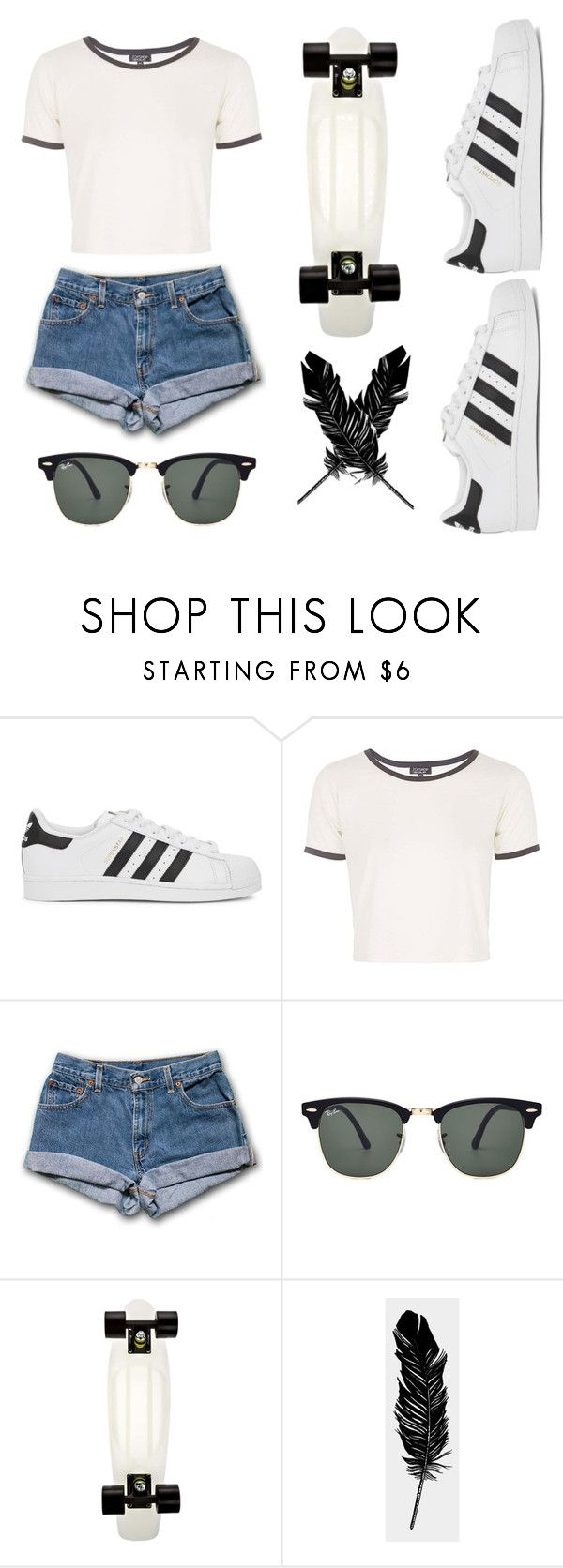 """""""Sans titre #152"""" by supercarlitta ❤ liked on Polyvore featuring adidas Originals, Topshop, Ray-Ban and Tattly"""