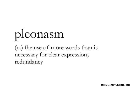 pronunciation | 'plE-o-naz-m                                #pleonasm, noun, English, redundant, tagging is hard guys, words, otherwordly, other-wordly, definitions, P,