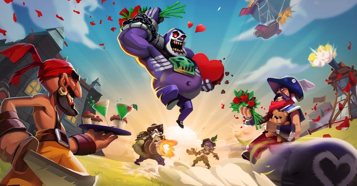 Raids of Glory: Valentine's day upload screen image. Lot's of hearts and roses <3 ...Although a couple reeking rogues are still holding their guns.