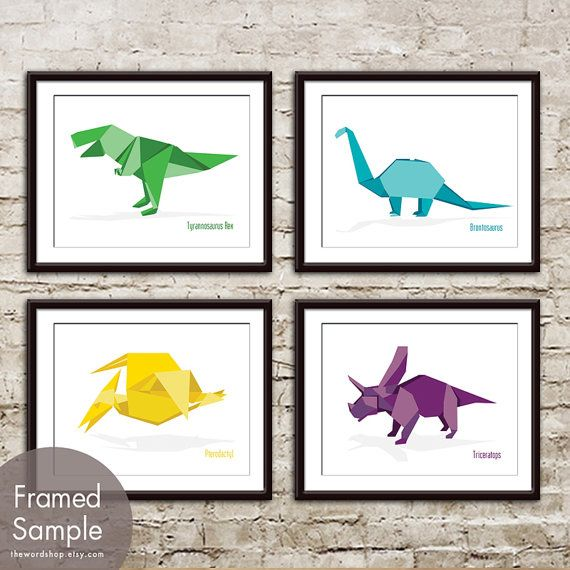 Dinosaur Origami  Set of 4  Art Print Featured in by TheWordShop