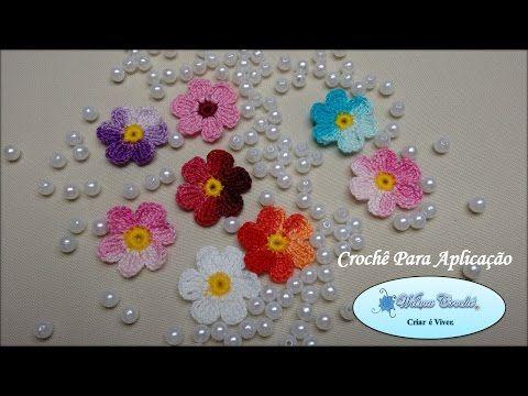 Mini Flor de Crochê Para Aplicação (4cm) - YouTube