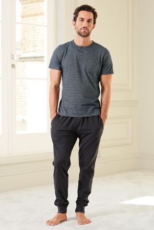This is men's loungewear at its finest! Stay stylish while you chill out in this grandad jersey set from Next.
