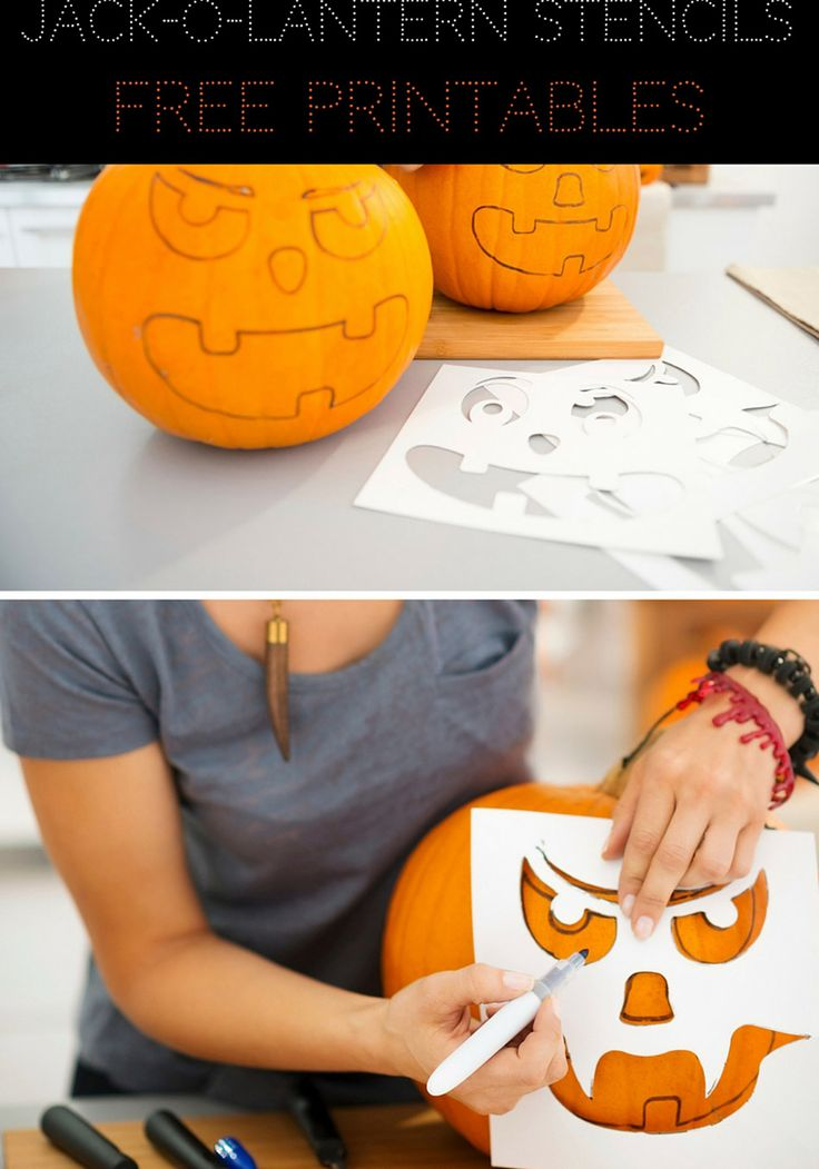 Printable Jack-O'-Lantern Carving Templates. Free guides for carving pumpkins for Halloween!