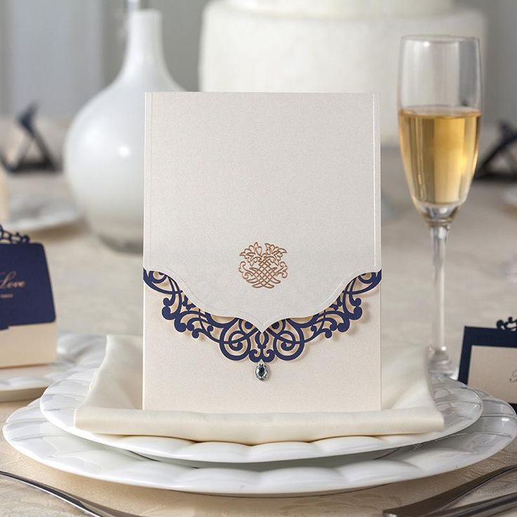 diamond wedding invitations%0A Gorgeous Laser Cut Royal Blue And Pearl White with Diamond Wedding  Invitation Card Hollow Flower Free