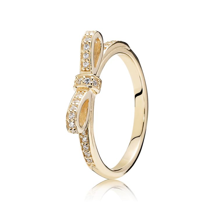 PANDORA | Sparkling Bow Stackable Ring, Clear CZ & 14K Gold