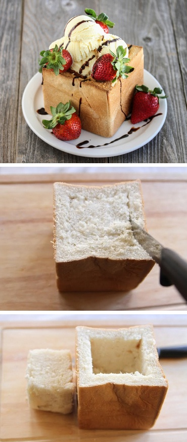 Honey Toast/ Brick Toast Tutorial  http://thecakebar.tumblr.com/post/44428278167/brick-toast-honey-toast-tutorial-for-those