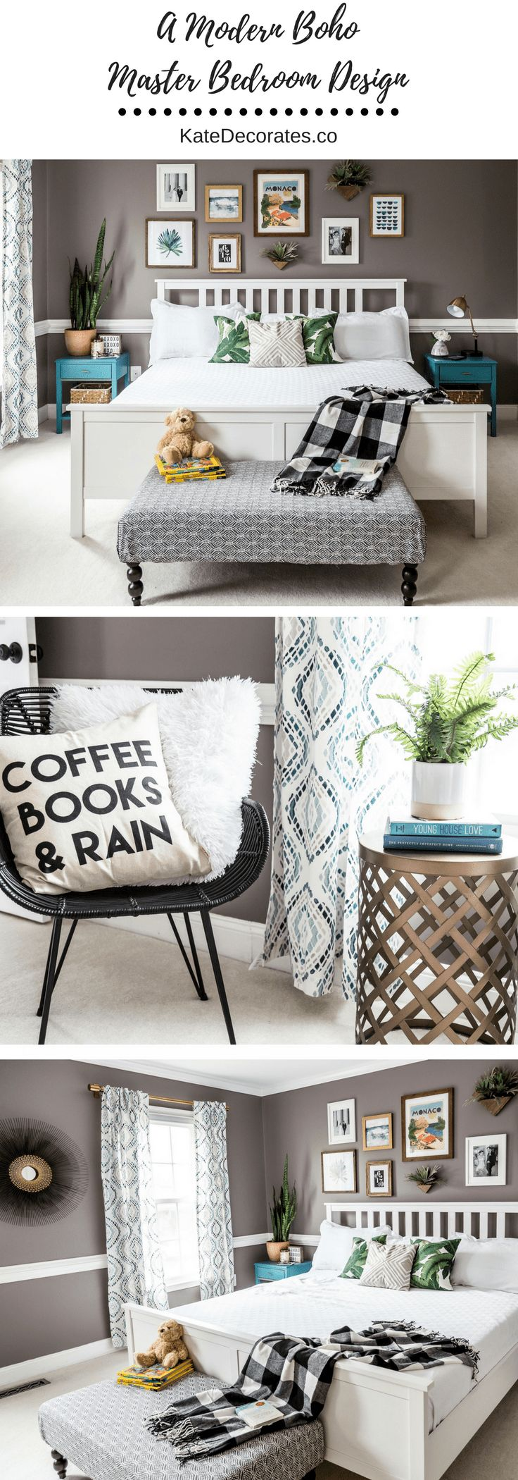 Love, love, love this modern boho master bedroom design! Even better? It was done on a budget. Check it out at KateDecorates.co.