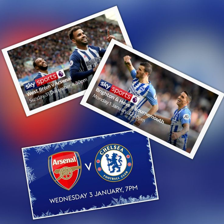 Watch Live Premier League Football on Sky Sports Premier League: West Brom v Arsenal – Sunday 31 Dec 2017, 4:30pm, Brighton & Hove v Bournemouth – Monday New Year's Day 1 Jan …