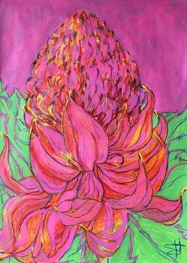 "Saatchi Art Artist Shauna Southam; Drawing, ""Pink protea"" #art"