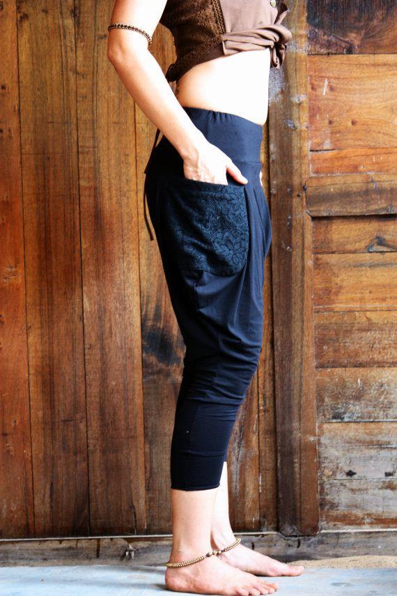 Pixie pants DropCrotch pants Harem Pants Pockets pants by Picarona