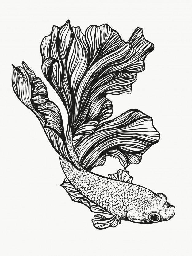 Betta Fish In 2020 Fish Design Drawing Betta Fish Tattoo Fish Artwork