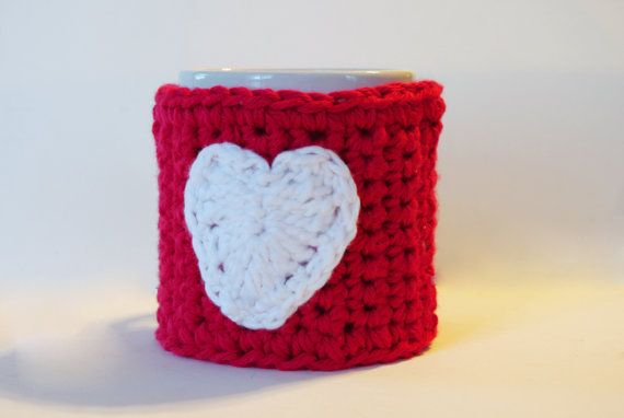 Crochet Coffee Cup Cozy  Red Cup Cozy  White heart  by Crochettess, $8.50