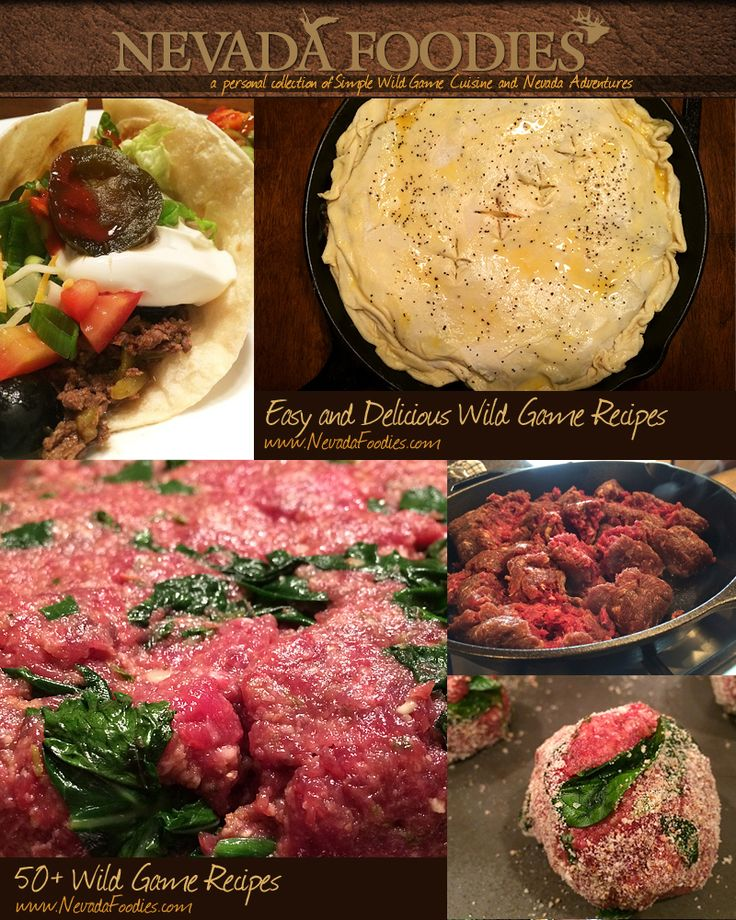50+ EASY Wild Game Recipes including Elk, Venison, Antelope, Chukar and more. Easy and Delicious Recipes. Fool Anyone into Loving Wild Game. Sign up to receive FREE Recipes to your inbox. www.NevadaFoodies.com