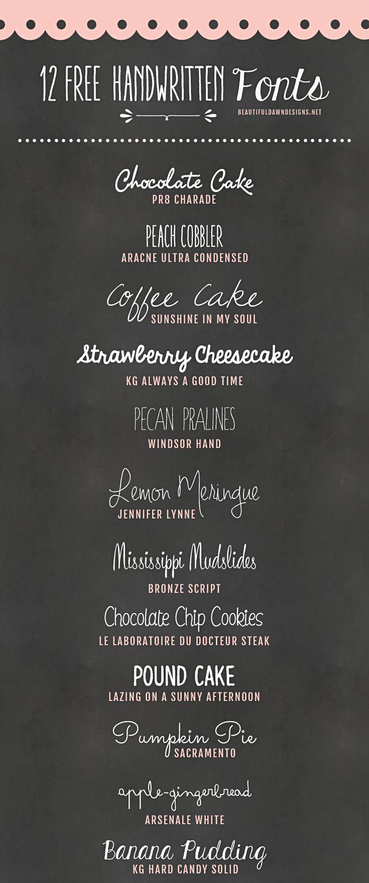 12 Free Handwritten Fonts @ Beautiful Dawn designs ~~ {w/ easy download links} ~~