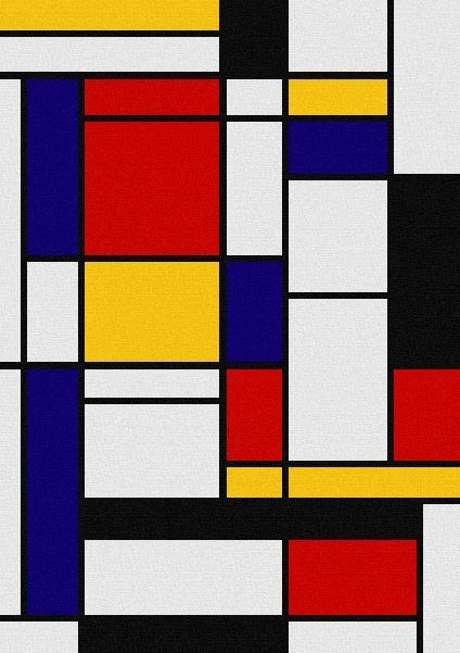 De Stijl Influence. This would make an awesome quilt. I might just start quilting to make this