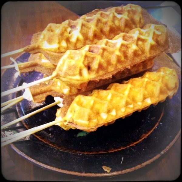 4. Corn Dogs - 7 #Things to Cook in a Waffle Iron ... → #Food #Traditional