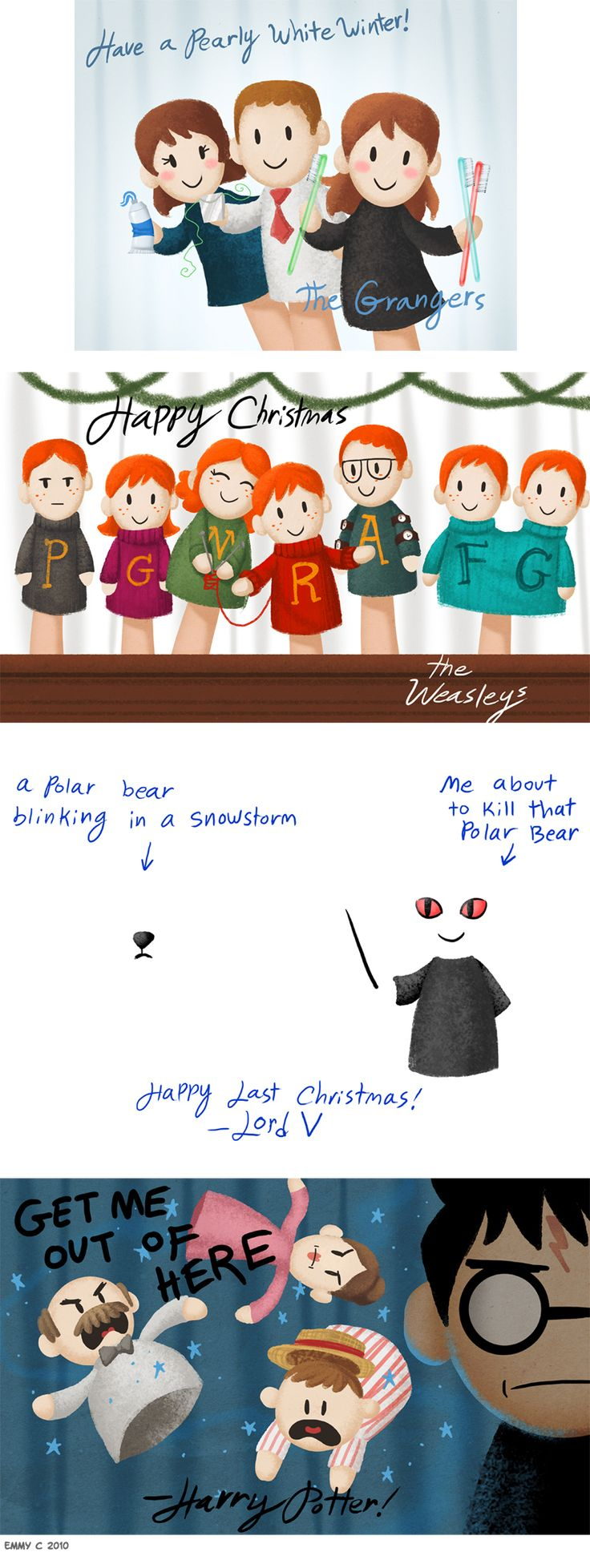 Potterpal Christmas Cards by Emmy Cicierega. Cute!! :)