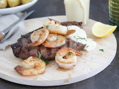 Surf and Turf with Garlic Cream Sauce Recipe
