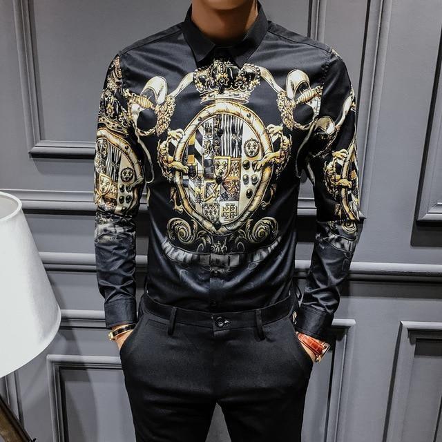 150b31250d30 Buy Black Gold Print Shirt 2018 New Baroque Slim Fit Party Club Shirt Men  Male Long at narvay.com.Casual