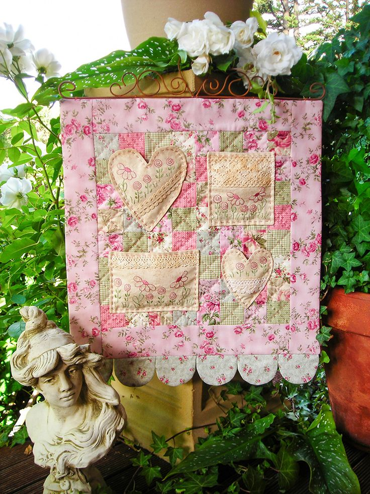 """""""Sweet Nothings"""" by Sally Giblin of The Rivendale Collection. Finished wallhanging size: 20"""" x 16""""  #TheRivendaleCollection stitchery, appliqué and patchwork patterns. www.therivendalecollection.com.au"""