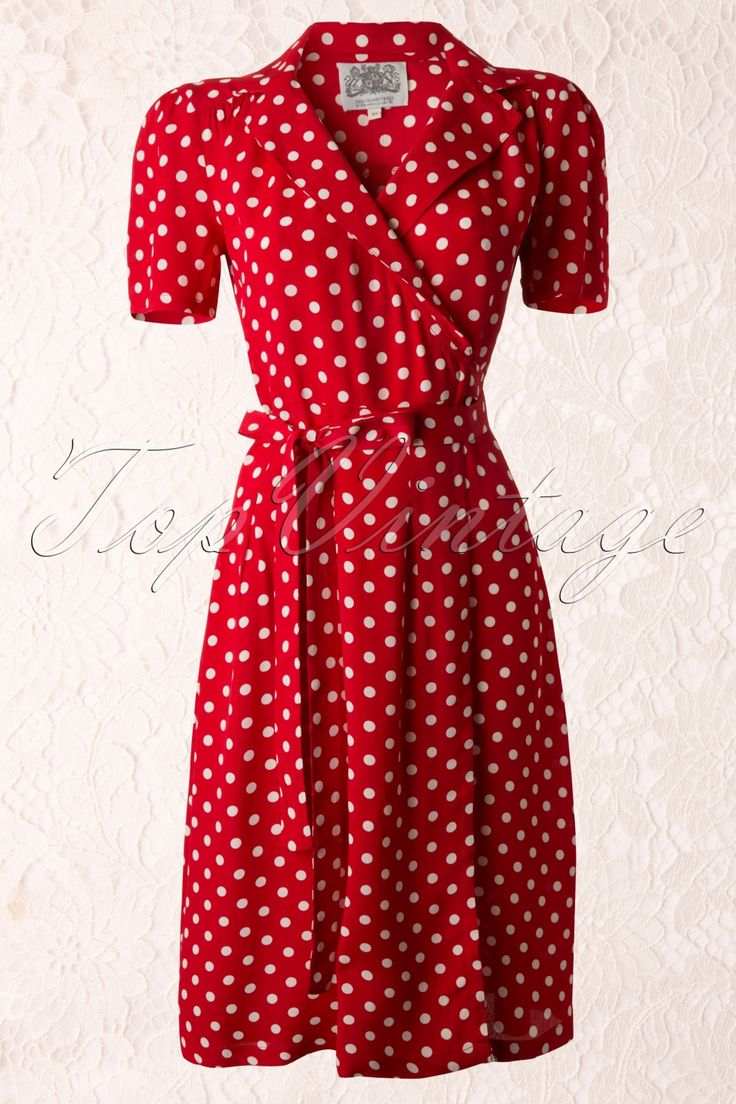 The Seamstress of Bloomsbury - 40s Peggy Wrapover Dress in Red and White