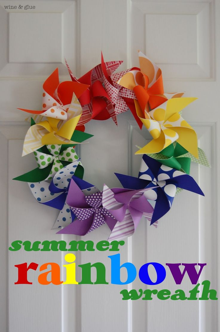 This would be a cute colorful wreath for the front door.