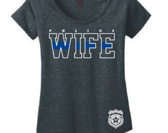 TBL Police Wife Ladies Scoop Neck Shirt Officer Gift Police Wife Gifts Girlfriend Police Badge Thin Blue Line Cop Wife Hero I Married Mine by NCWDesigns. Explore more products on http://NCWDesigns.etsy.com