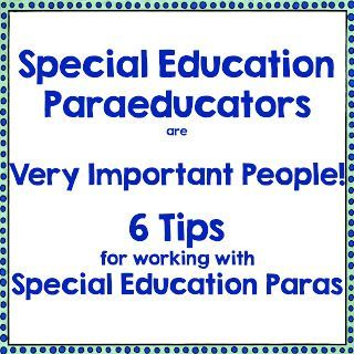 Read~Write~Create : Special Education Paraeducators are Very Important People! I…