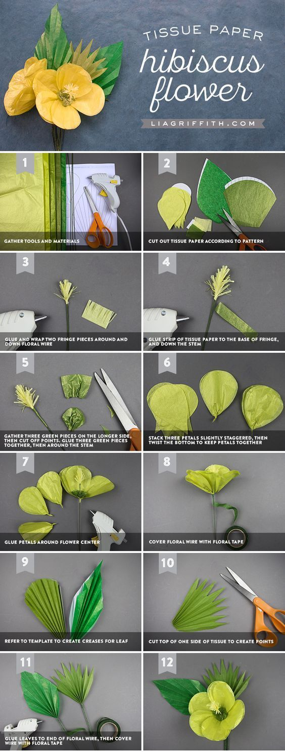 Tissue Paper Tropical Hibiscus - Lia Griffith - www.liagriffith.com #tissuepaper #paper #paperart #paperlove #papercrafts #paperflower #paperflowers #diyinspiration #diyidea #diyideas #madewithlia