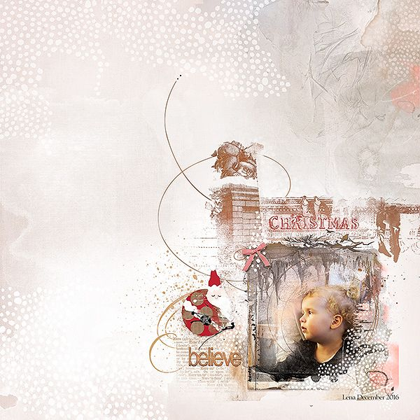 Believe is a digital scrapbook page about Christmas that I (Margje) made with:  ArtsyTransfers Yule   ArtPlay Palette Yule   Holiday WordART Mix No. 3   Christmas Nostalgia No. 1   MultiMedia Santa Claus No. 1   Framed FotoBlendz No. 1   LoopDaLoop Flutterbys No. 1   All Anna Aspnes