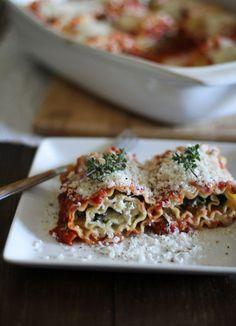 Portabella and Spinach Lasagna Roll-Ups