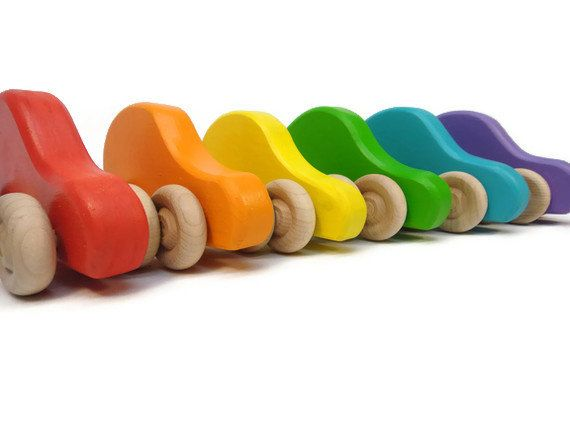 Colorful Wood Car Set 6 Organic Waldorf Toy Cars by BannorToys