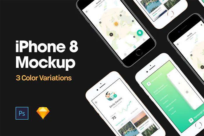 Iphone 8 Mockup Free Psd Templates Iphone Iphone 8 Iphone Mockup