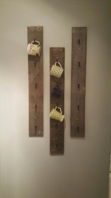 Diy coffee mug rack w/ pallet wood