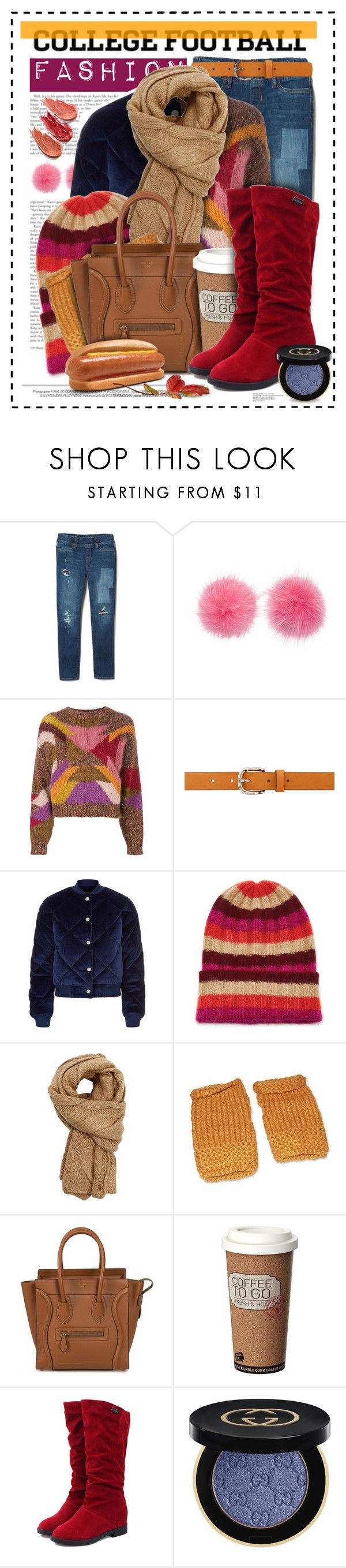 """Thanksgiving Football Game Fashion..."" by angiesprad ❤ liked on Polyvore featuring Wild & Woolly, Isabel Marant, Maje, The Elder Statesman, Polo Ralph Lauren, NOVICA, CÉLINE, Gucci and Anastasia Beverly Hills"