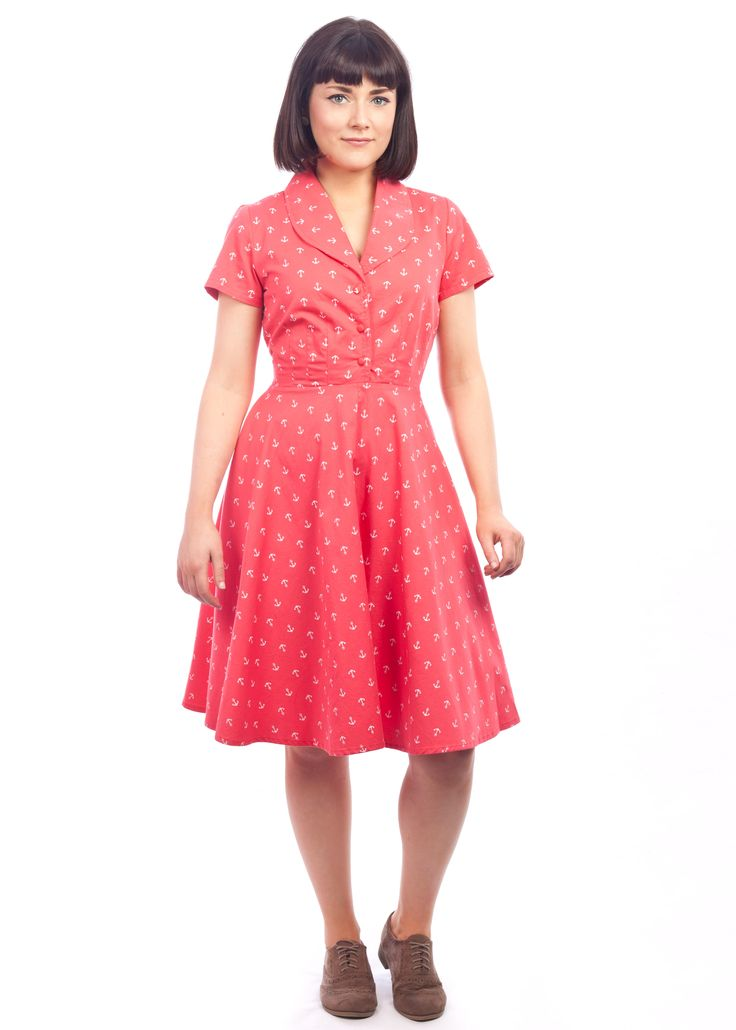 The anchor print Charlotte dress from Circus, at Carousel #anchor #pattern #orange #red #40s #50s #shirtdress #vintage #style #dress #fun #independent #irish #design #dublin