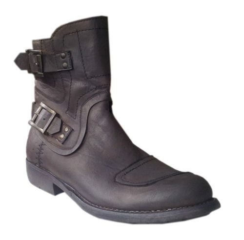 Mens New Brown Harley Style Buckle Zip Ankle Cowboy Biker Boots Shoe Size 6-11 exclusive to Modinshu