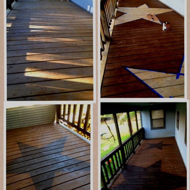 Want to stain deck with big check stencil like this sorta? Julieeads what do u think ?